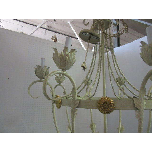 1950s White Bird Cage Shaped 8 Light Chandelier With Brass Accents For Sale - Image 4 of 6