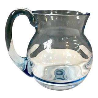 Vintage Optic Blue Blown Glass Pitcher