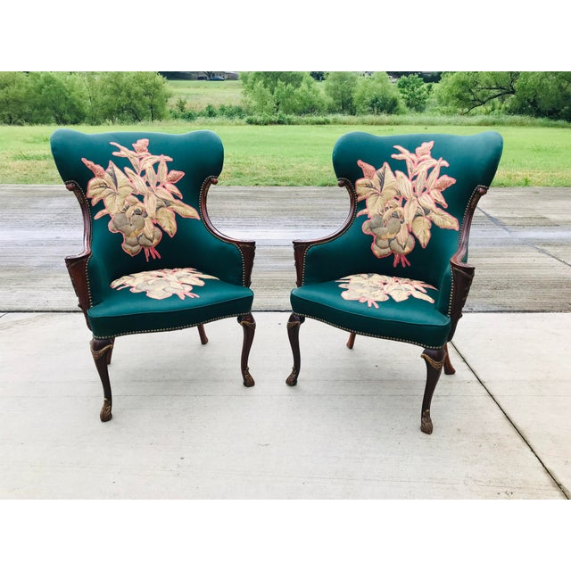 Late 19th Century Carved Mahogany Wingback Chair - a Pair For Sale - Image 10 of 10