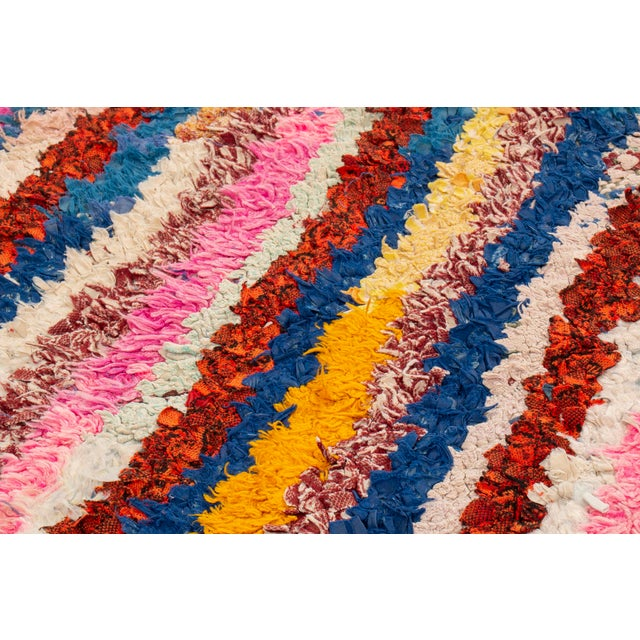 Vintage Mid-Century Moroccan Transitional Pink and Blue Multicolor Wool Rug - 3′10″ × 6′4″ For Sale - Image 4 of 6