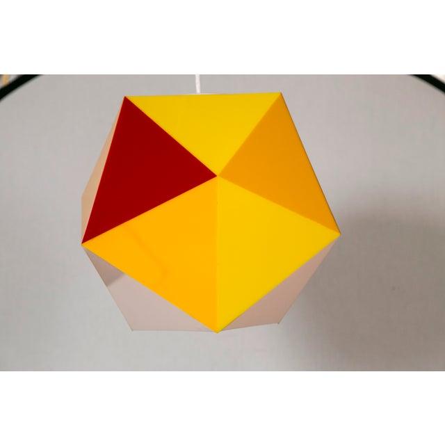 Geodesic Yellow & Orange Acrylic Pendant Light - Image 4 of 6