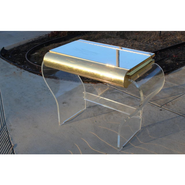 Mid Century Modern Gold and Lucite Vanity For Sale In San Diego - Image 6 of 10