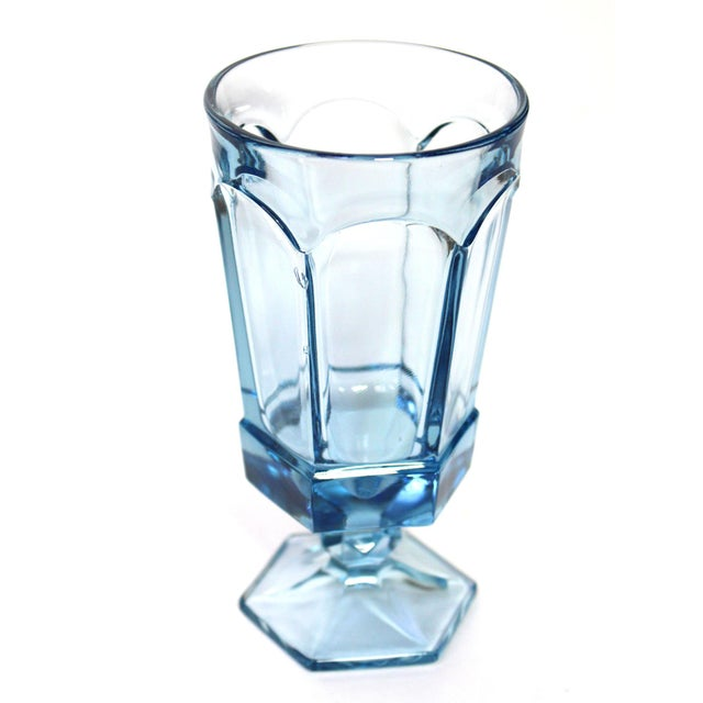 American Vintage American Fostoria Pale Blue Glasses - Set of 10 For Sale - Image 3 of 6