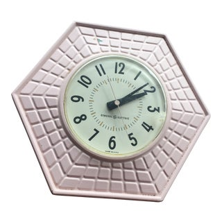 Mid-Century Modern Hexagonal Pink Wall Clock For Sale