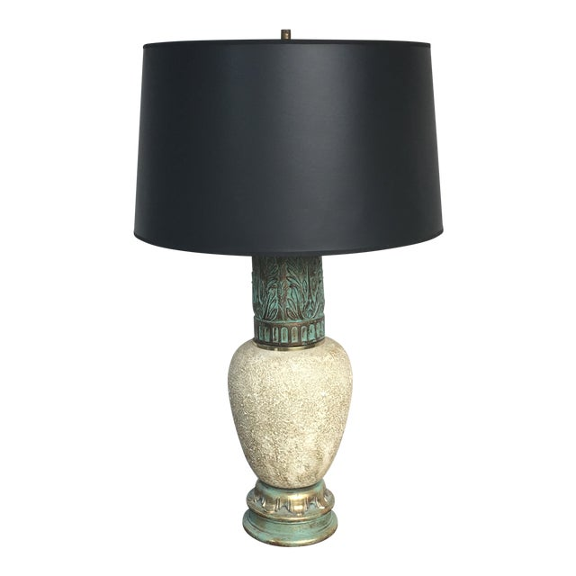 Mid-Century Iron & Ceramic Table Lamp For Sale