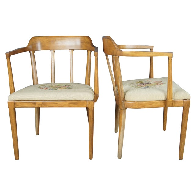 Mid-Century Modern Mid Century Modern Tomlinson Walnut Dining Chairs- A Pair For Sale - Image 3 of 11