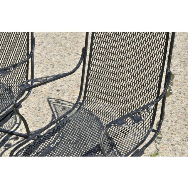 Black Vintage Mid Century oodard Wrought Iron Patio Bouncer Lounge Arm Chairs- A Pair For Sale - Image 8 of 12