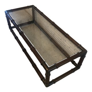 Faux Bamboo Coffee Table With Brass Corners For Sale
