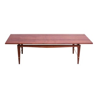 Mid-Century American Modern Walnut and Brass Coffee Table For Sale