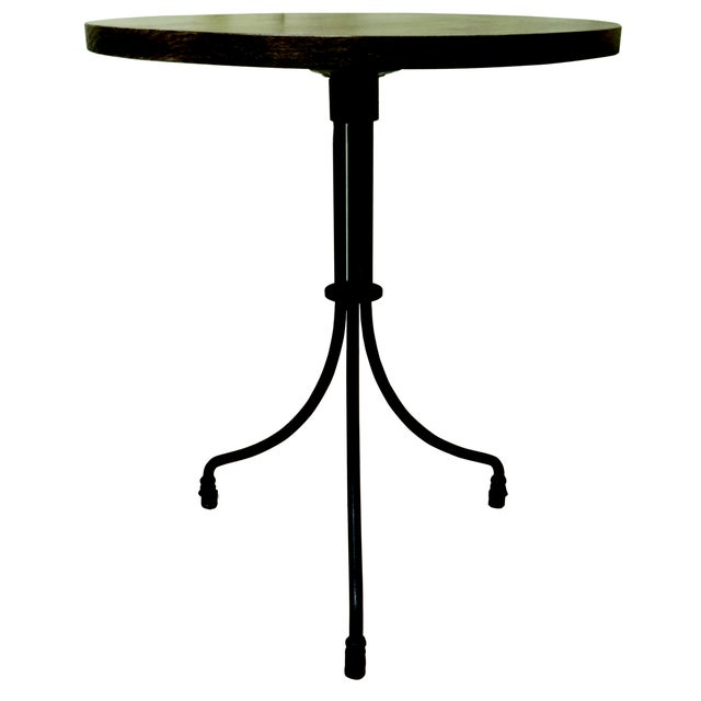 Metal New Round Folding Bistro Table With Wood Top & Iron Base For Sale - Image 7 of 7