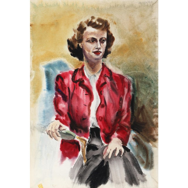 Eve Nethercott, Woman With Red Jacket (P6.52), Watercolor on Paper For Sale