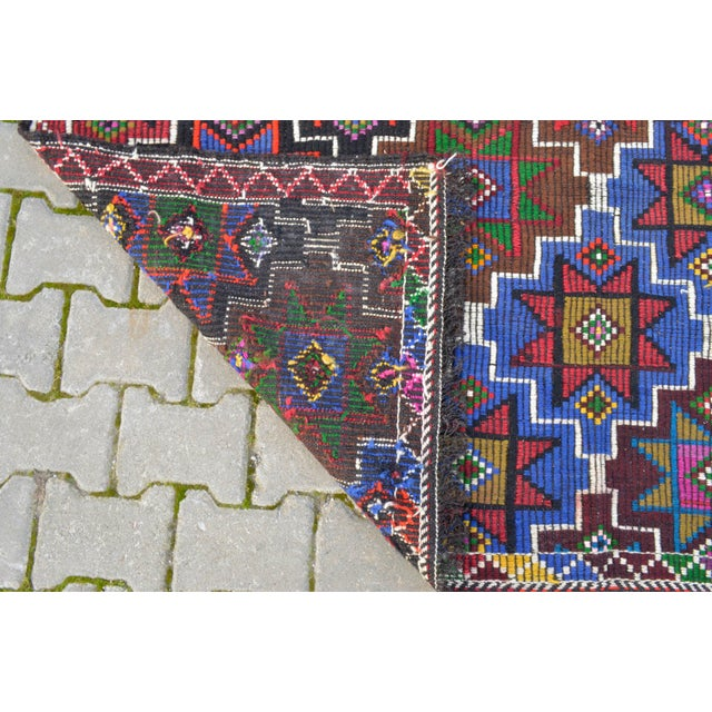 Handwoven Turkish Kilim Rug. Traditional Oushak Area Rug Braided Kilim - 6′ X 13′5″ For Sale - Image 11 of 12