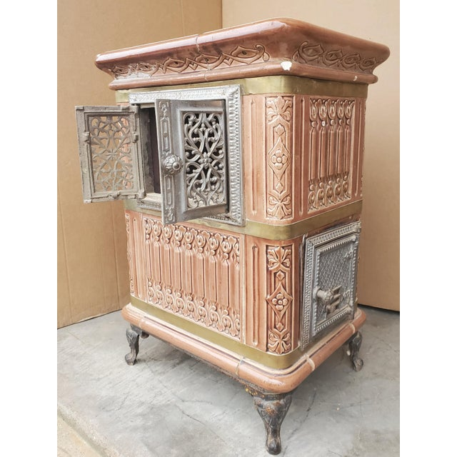 19th Century French Sarreguemines Ceramic Tile Heating Stove For Sale - Image 10 of 12