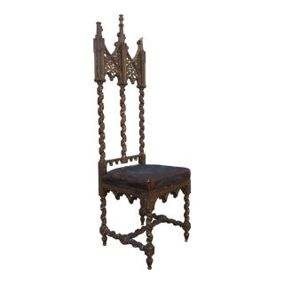 Period Renaissance 16th Century Gothic High Back Chair For Sale