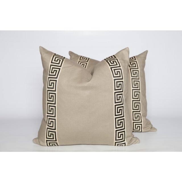 2010s Cream Linen Black and Ivory Greek Key Pillows, a Pair For Sale - Image 5 of 6