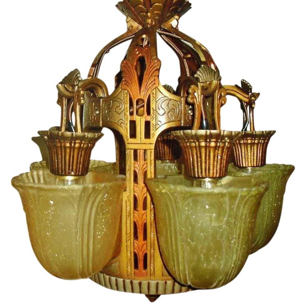 Antique riddle art deco slip shade chandelier chairish arubaitofo Choice Image