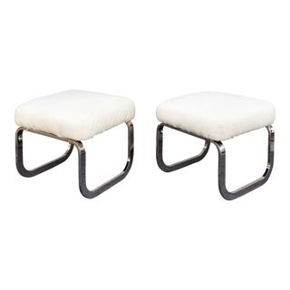 1970's Chrome Flat Bar Sculptured Stools by Design Institute America Attributed to Milo Baughman - a Pair For Sale