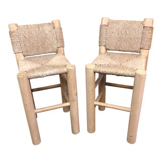 1980s Contemporary Kreiss Rush Wrapped Bar Height Stools - a Pair
