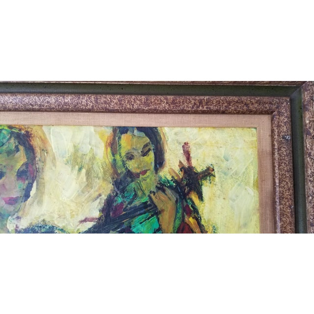 Yellow 1960 Fran Archdeacon Oil Painting of Two Females With Guitar For Sale - Image 8 of 13