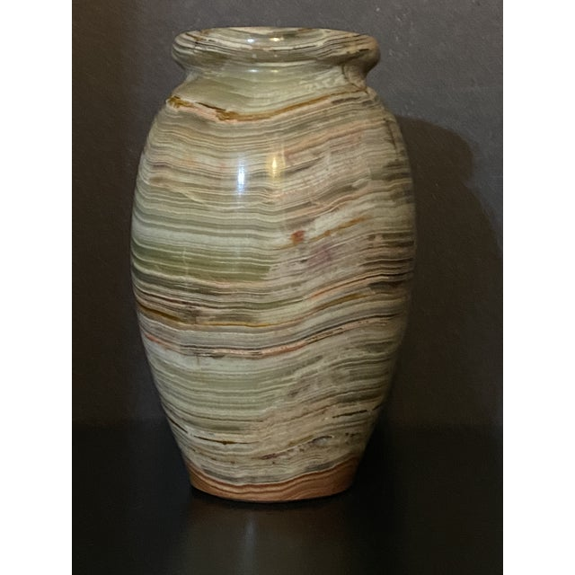 1960s Vintage Polished Onyx Stone Bud Vase For Sale - Image 4 of 7