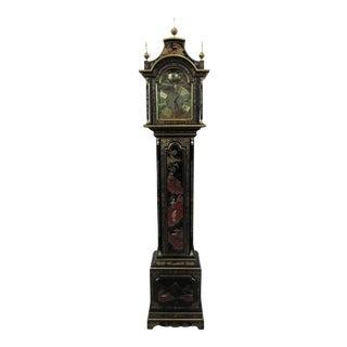 Vintage Ebonized Chinoiserie Grandmother Clock For Sale