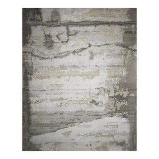 Modern Handmade Rug- Abstract Organic Design Wool & Silk Charcoal, Gray, Silver, Beige 8' X 10' For Sale