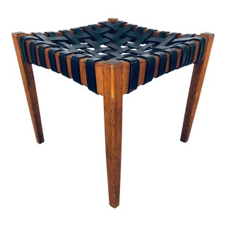 Danish Modern Woven Leather Strap Stool For Sale