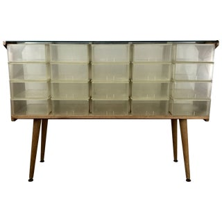 Unusual Mid-Century Modern Store Fixture Plastic Wood and Glass Store Fixture For Sale