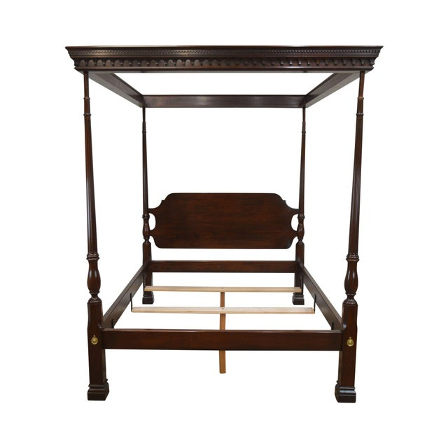Stickley Solid Mahogany Queen Size Carved Canopy Poster Bed For Sale - Image 13 of 13