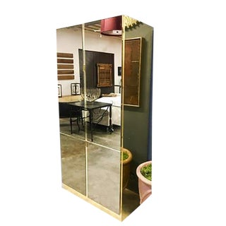 1970s Contemporary Ello Bronze Mirrored Glass and Brass 4-Door Wardrobe For Sale