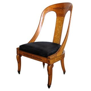 Handsome French Charles X Burl Birch Spoon Back Chair For Sale