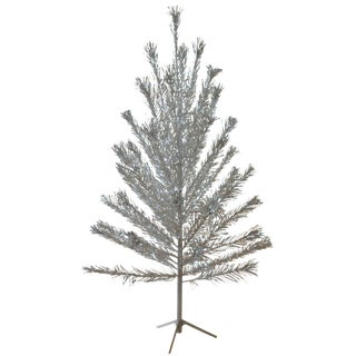 Midcentury Aluminum Pom Pom 6 Foot Christmas Tree For Sale