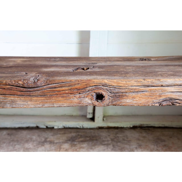 """Brown Reclaimed Wood Parsons Dining Entry Bed Bench Coffee Table 70"""" For Sale - Image 8 of 11"""