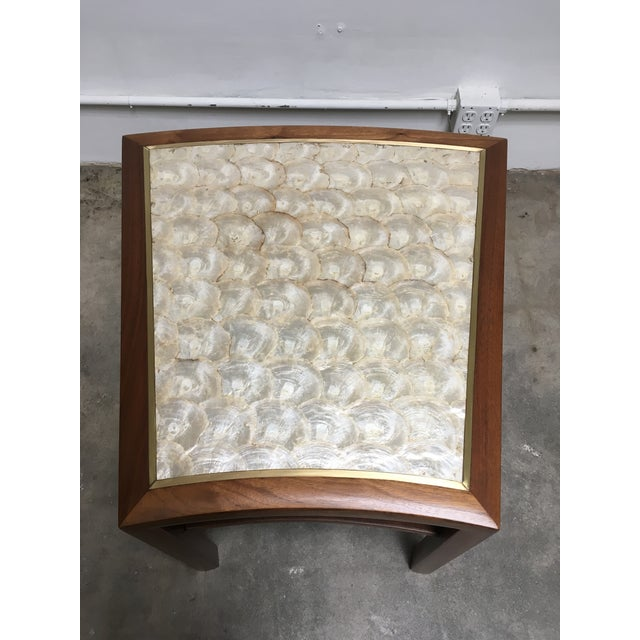 1950s 1950s Mid Century Modern Capiz Shell & Brass Top Side Table For Sale - Image 5 of 10