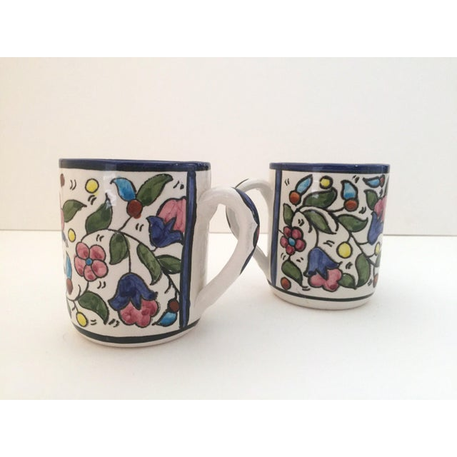 Vintage Jerusalem Pottery Armenian Floral Ceramic Hand Painted Mugs - a Pair For Sale - Image 7 of 9
