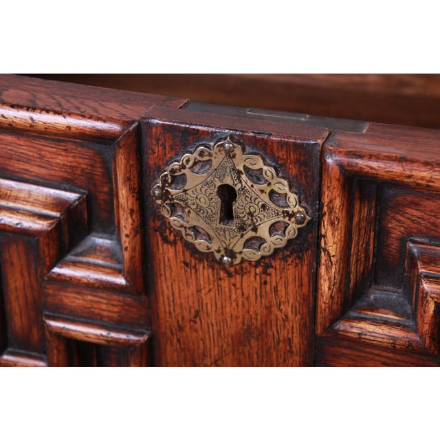 Gold Antique Carved Oak Three-Drawer Bachelor Chest For Sale - Image 8 of 12