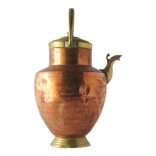 19th Century Copper & Brass Vessel With Spout, Handle & Lid For Sale