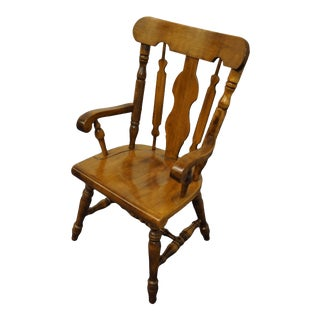 Temple Stuart Solid Hard Rock Maple Colonial Style Splat Back Dining Arm Chair 814-A For Sale