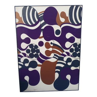 1960s Vintage Danish Modern Ritva Wahlstrom Scandinavian Art Fabric For Sale