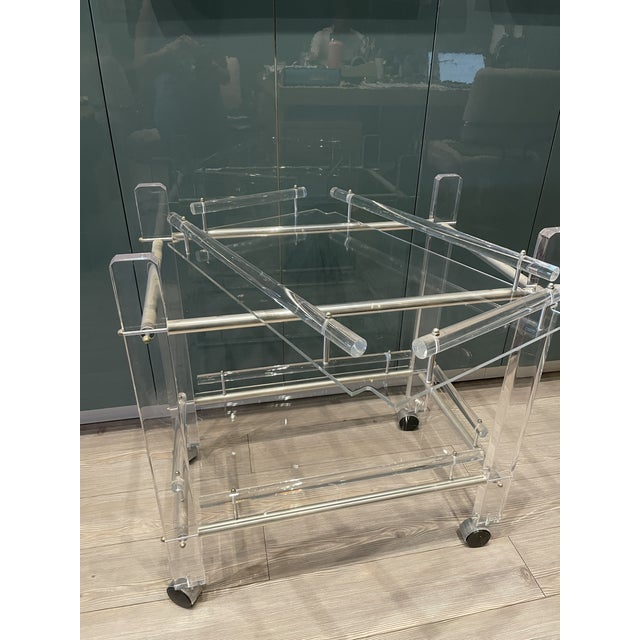 Early 20th Century Hollis Jones Two-Tier Lucite Bar Cart With Removable Trays For Sale - Image 5 of 11