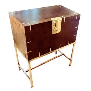 Vintage Burl Wood & Brass Bound Campaign Keepsake Locker With Brass Plated Stand For Sale