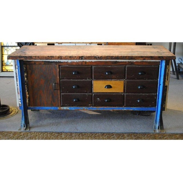 Vintage Wood Workbench Table or Console - Image 3 of 9