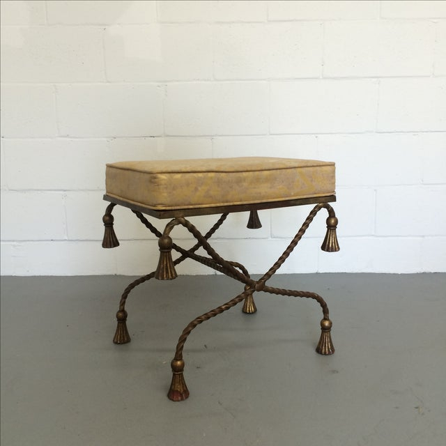 Vintage Gilt Metal Rope Bench - Image 2 of 6