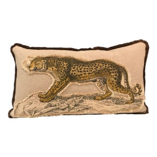 Safari Linen & Cotton Applique Cheetah Pillow For Sale