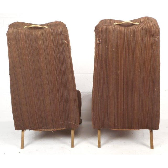 Mid-Century Modern High Back Slipper Chairs - A Pair - Image 4 of 9