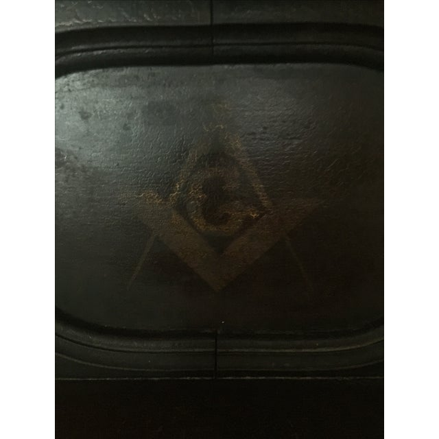 Early American Antique Masonic Freemasonry Wood Shelf For Sale - Image 3 of 11