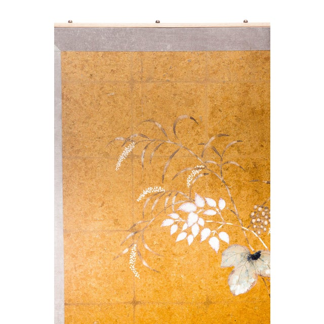 "2010s Lawrence & Scott Japanese Style ""Summer Garden"" Four-Panel Gold Foil Original Painting Hanging Screen For Sale - Image 5 of 9"