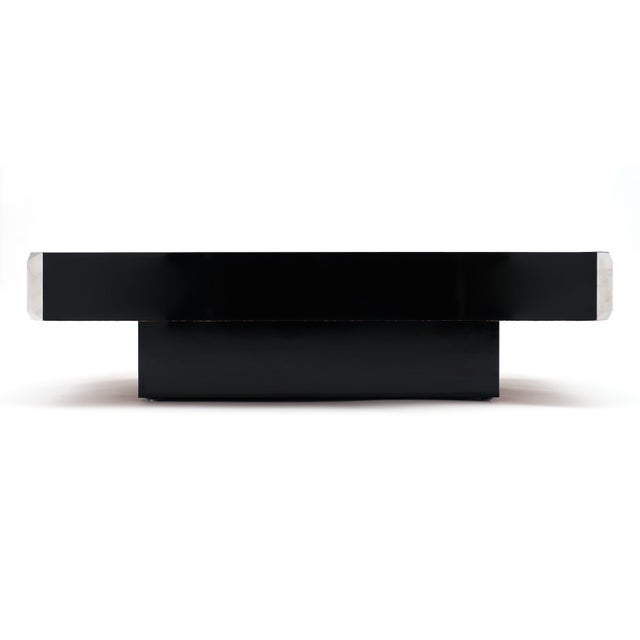 Black Italian Vintage Ebonized Coffee Table With Chrome by Willy Rizzo For Sale - Image 8 of 10