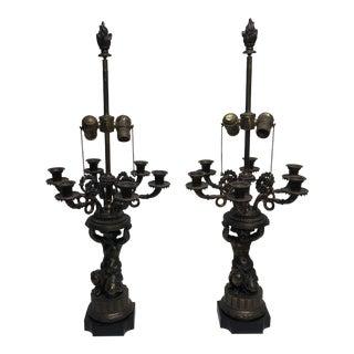 1940 Brass Cherub Candelabra Lamps, - a Pair For Sale