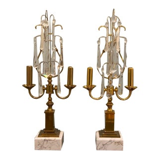 Vintage Early 20th Century Crystal Girandoles Mantle Lamps - a Pair For Sale